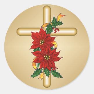 För julstjärnajul för guld arga klistermärkear runt klistermärke