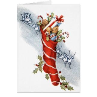 För julstrumpahälsning för vintage Retro kort