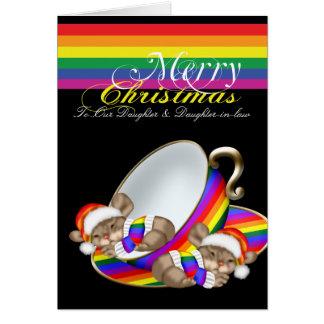 För jultekopp för gay pride nyckfulla möss hälsningskort