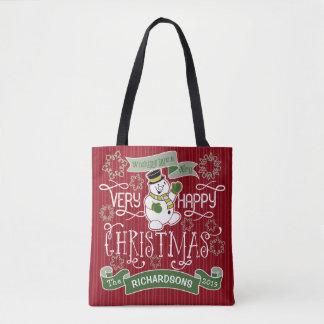 För jultypografi för snögubbe lyckligt baner för tygkasse