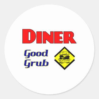 För käkhamburgare för middag bra konst för runt klistermärke