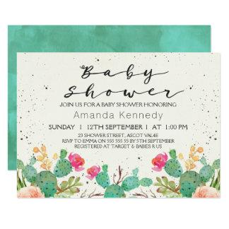 För kaktusbaby shower för vattenfärg blom- 12,7 x 17,8 cm inbjudningskort