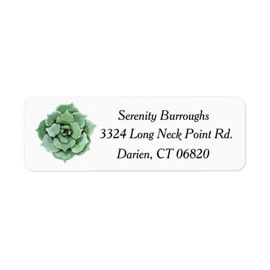 För kaktusvattenfärg för Mint grön suckulent Returadress Etikett