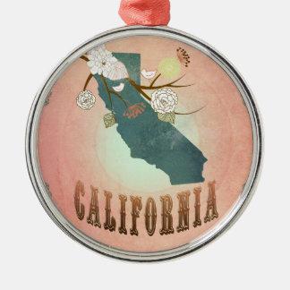 För Kalifornien för modern vintage persika för Julgransprydnad Metall