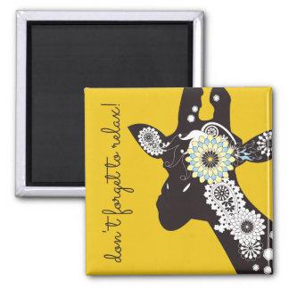 För kall gult för djur Paisley för funky giraff Magnet