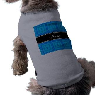 För kända kvadrerar retro färgrikt himmelblått för långärmad hundtöja