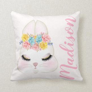 För kaninansikte för personlig rosa blommigt kudde
