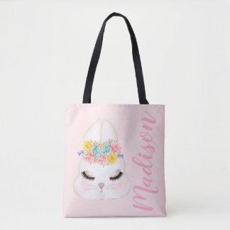 För kaninansikte för personlig rosa blommigt tygkasse
