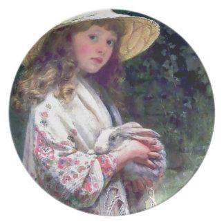 För kaninkanin för flicka älsklings- målning tallrik