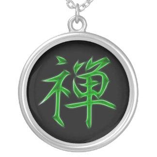 För Kanjicalligraphy för Zen japanskt symbol Halsband Med Rund Hängsmycke