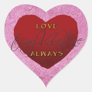 För kärlek hjärtaklistermärke alltid hjärtformat klistermärke