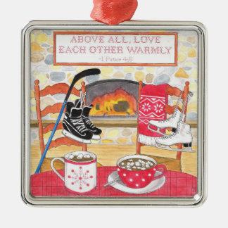 För kärlek julprydnad varmt silverfärgad fyrkantigt julgransprydnad