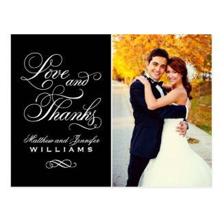 För kärlek och svart brölloptack för tack | vykort