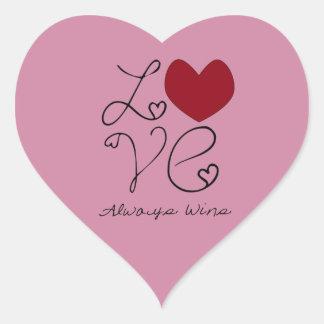För kärlek segrar alltid - ändra färg hjärtformat klistermärke