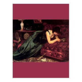 För kärlekbrev för kvinna läs- målning vykort