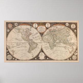 För kartaaffisch för gammal värld återhållsamt poster