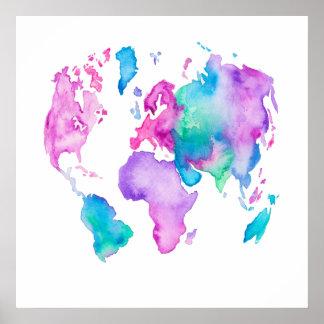 För kartajordklot för modern värld målar den ljusa poster