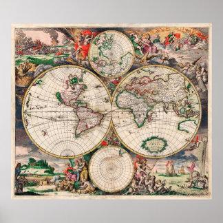 För kartavintage affisch för gammal värld tryck poster
