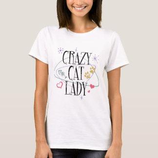 För kattdam för Retro stil galen T-tröja Tee
