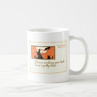 För kattfladdermöss för häxa svart fullmåne kaffemugg