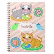För kattfoto för anpassningsbar känd gullig anteckningsböcker