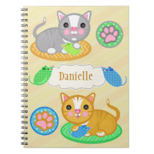 För kattfoto för anpassningsbar känd gullig anteckningsbok med spiral