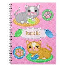 För kattfoto för anpassningsbar känd gullig spiral anteckningsbok