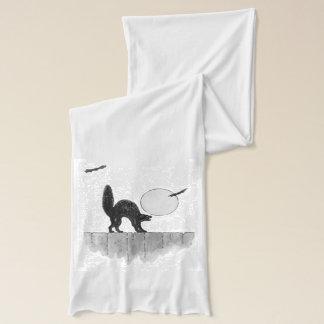 För kattfullmåne för monokrom svart staket för halsduk