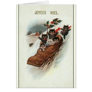 För kattjul för vintage franskt kort för hälsning