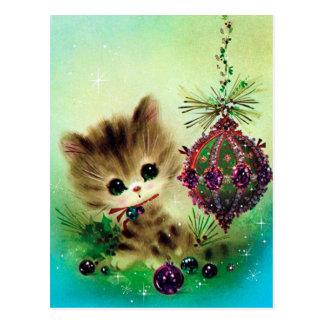 För kattjul för vintage retro vykort för helgdag