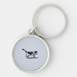För kattkattunge för hand plockade gullig teckning rund silverfärgad nyckelring