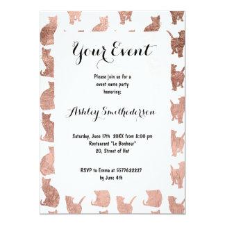 För kattmönster för modern coola rosa guld- 12,7 x 17,8 cm inbjudningskort