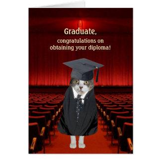 För kattstudenten för anpassade roligt kort