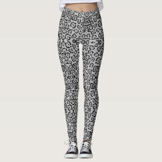 För katttryck för djärv grå Leopard djurt silver Leggings