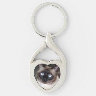 """"""""""" för """""""" kattungekärlek, twisted heart silverfärgad nyckelring"""