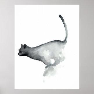 För kattvit för grå färg grumpy katter för affisch poster