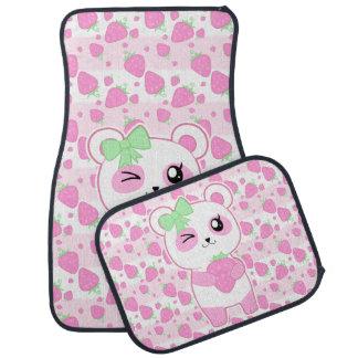 För Kawaii för gullig jordgubbe rosa björn Panda Bilmatta