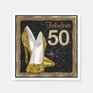 För kickhäl 50th för elegant Leopard guld- Pappersservett