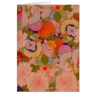 För Kimonoblomma för vintage rosa blom- mönster Hälsningskort