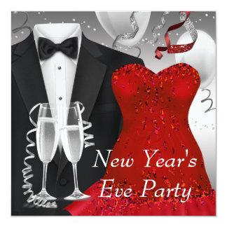För klänningparty för svart smoking röd mall för fyrkantigt 13,3 cm inbjudningskort