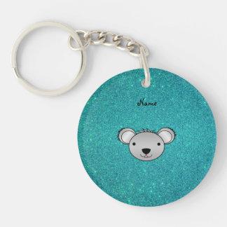 För koalaansikte för personlig känt glitter för tu nyckelkedjor