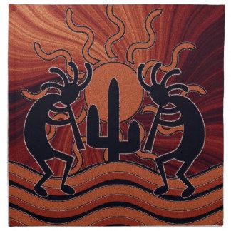 För Kokopelli för ökensolkaktus dekor Southwest Tygservett