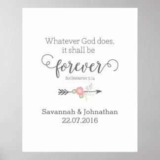 För konstbröllop för lantlig Scripture kristen Poster