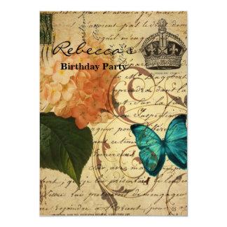 för konstfjäril för krona fransk botanisk vanlig 11,4 x 15,9 cm inbjudningskort