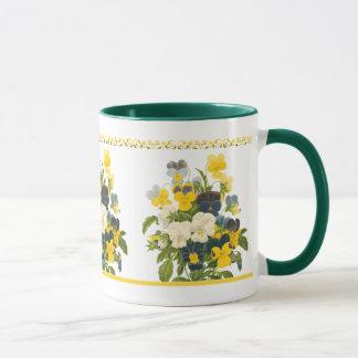 För konstkaffe för violett Pansy botanisk blom- Mugg
