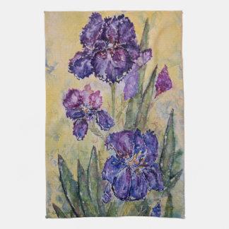 För konstkökshandduk för purpurfärgad Iris blom- Kökshandduk