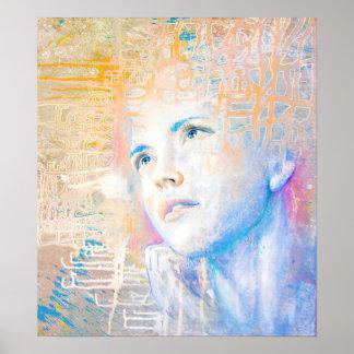 För konstporträtt för drömmare | färgrik målning poster