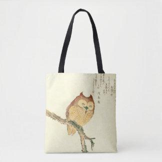 För konsttryck | för vintage japansk uggla på en tygkasse