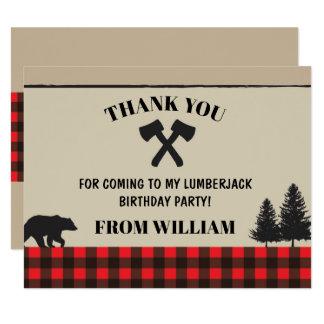 För kontrollfödelsedagsfest för Lumberjack rött 10,8 X 14 Cm Inbjudningskort