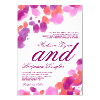 För korallbröllop för vattenfärg purpurfärgade 11,4 x 15,9 cm inbjudningskort